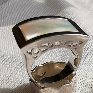 NWT Silver rectangular Mother of Pearl Ring sz 8